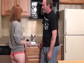 18-21 Cute Daddy Daughter BBW First Time Innocent Kitchen